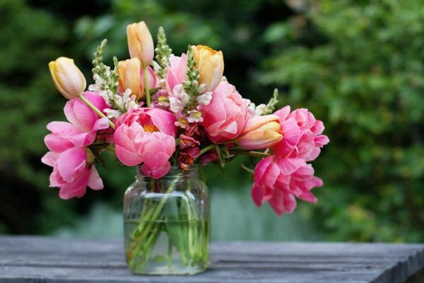 Peonies Tulips And Snapdragons In Hot Pinks And Oranges