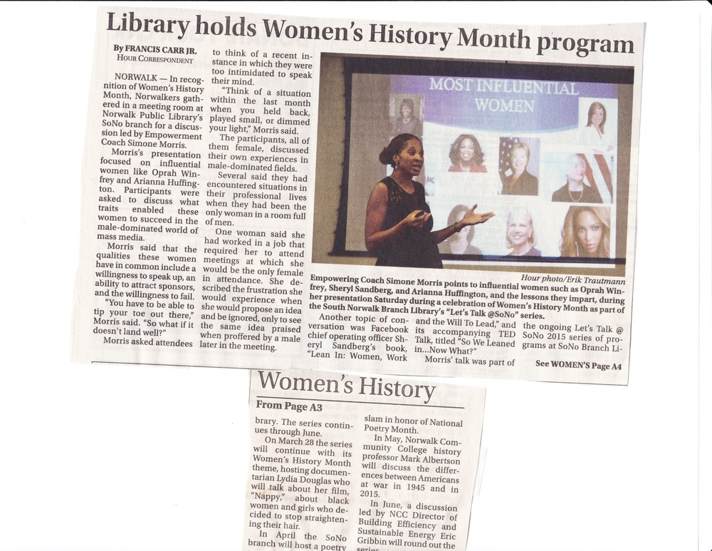 Women's History Month Presentation Featured in Norwalk Hour Newspaper