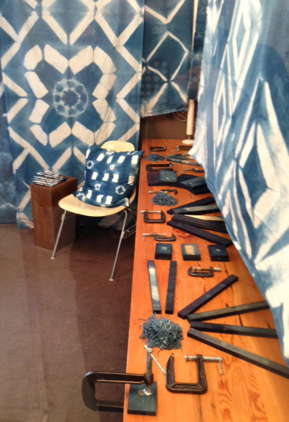 a few of the tools used to create the Shibori fabric