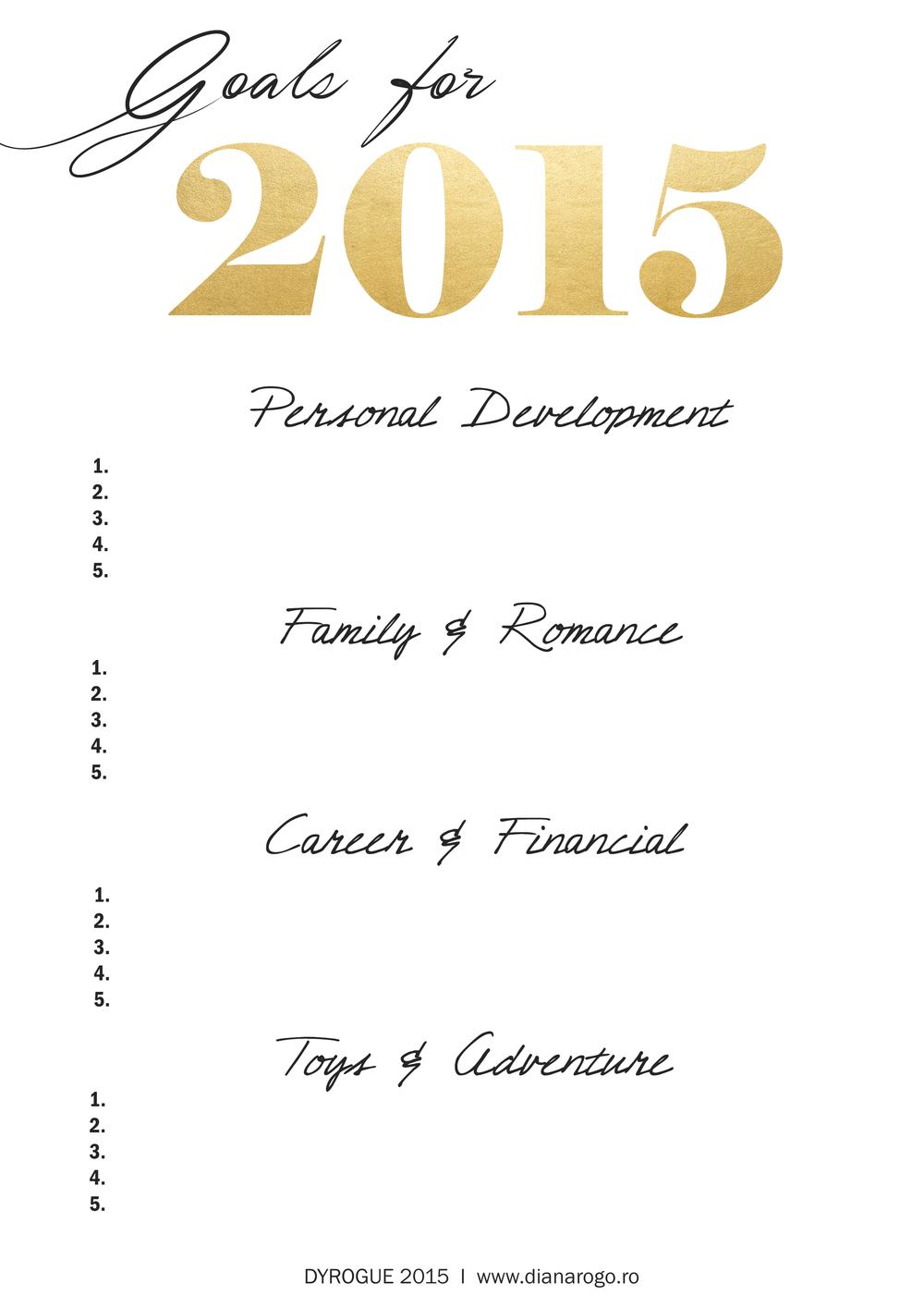 2015 Goal chart Printable on DYROGUE