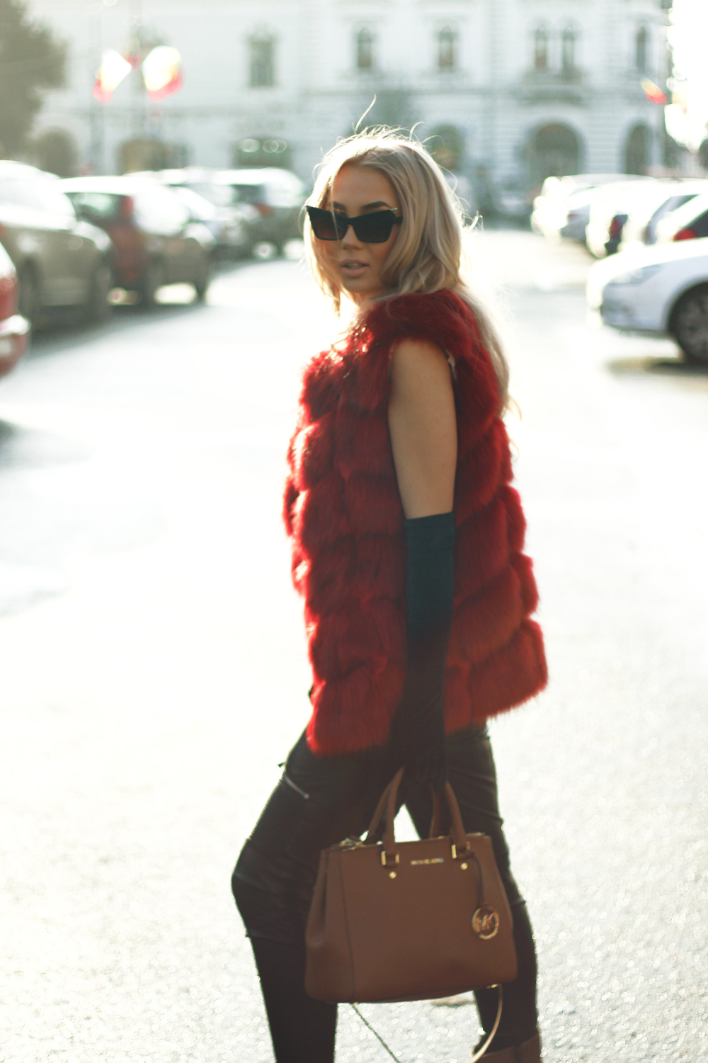 Diana Rogo Red faux fur