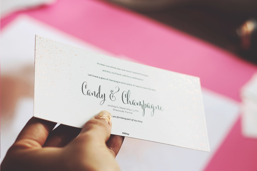 Candy & Champagne Dyrogue Party Invitation Dday