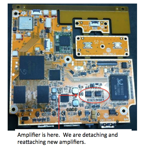 We are detaching and reattaching the new amplifier chip by hand for all the PCB boards, so it is taking a lot of time.