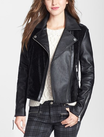 BCBGeneration faux leather and faux calfhair moto jacket, $108