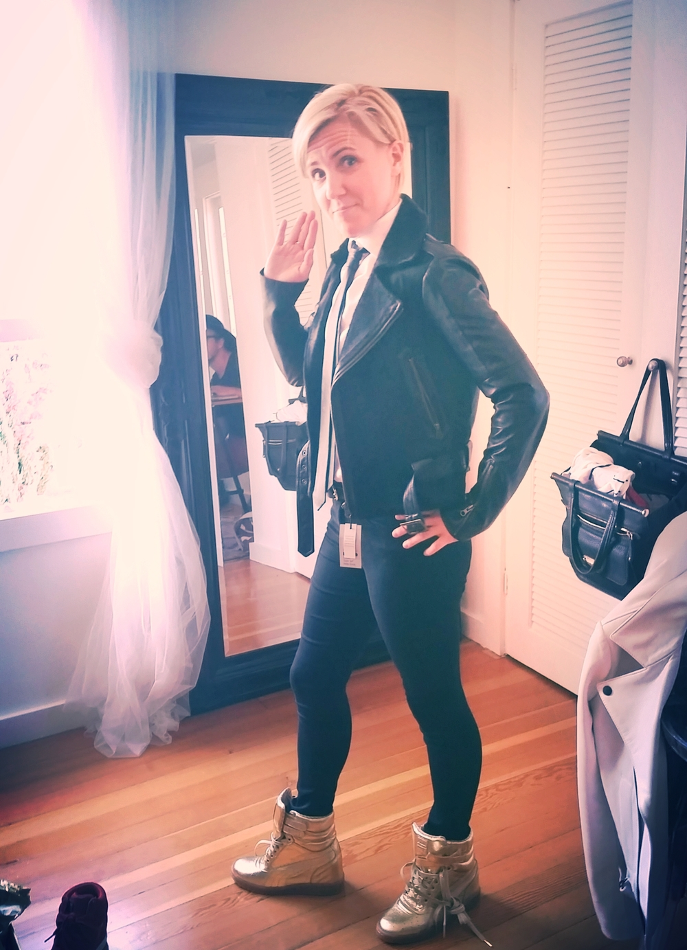 HH at the Closet Rich HQ for the fitting. Final look 1 Pants: Topshop; shoes: puma; Jacket: Rebecca Minkoff; tie: topshop