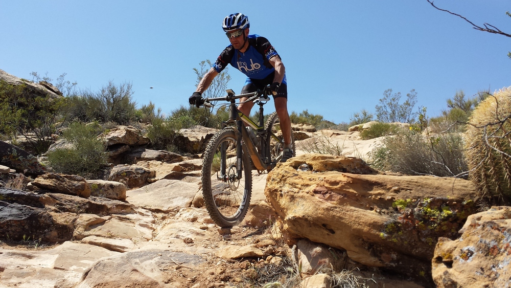 Cary enjoying the descending on his new BMC Trailfox.