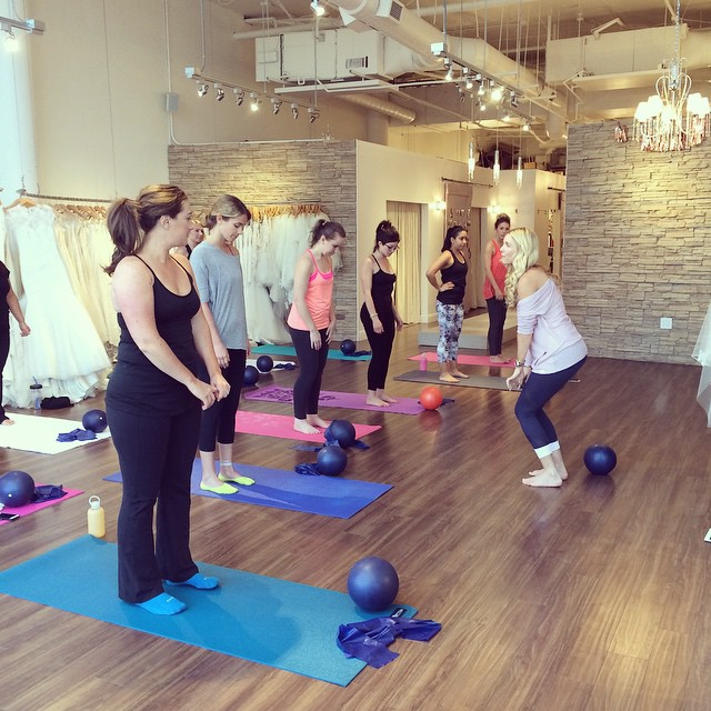 Image from our first Barre3 class inside the shop!