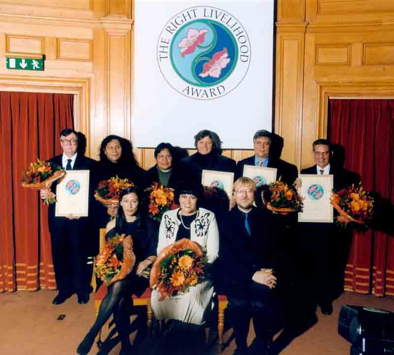 COAMA Receiving the 'Alternative' Nobel Prize in Stockholm 1999.