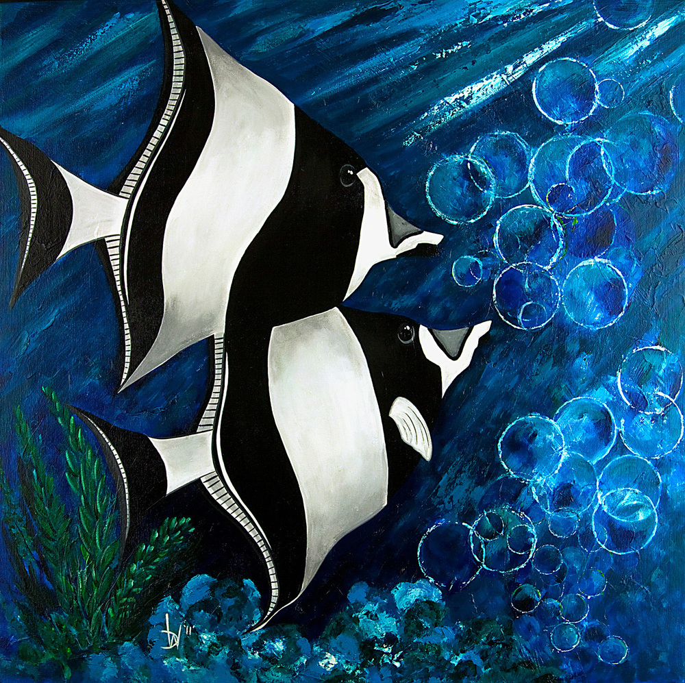 painting of black & white fish professionally photographed by john higby of eugene oregon