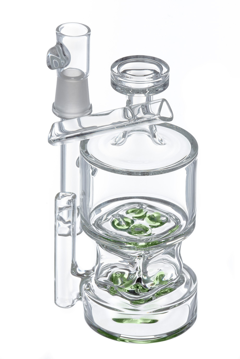 Hamms' Waterworks glass Bubbler with green on a white background. photographed by eugene glass photographer john higby