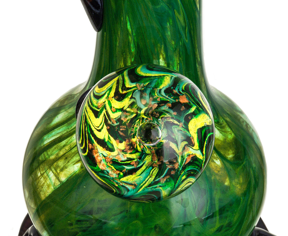 close-up of a 'noble glass' green glass bong on a white background photographed by eugene photographer john higby
