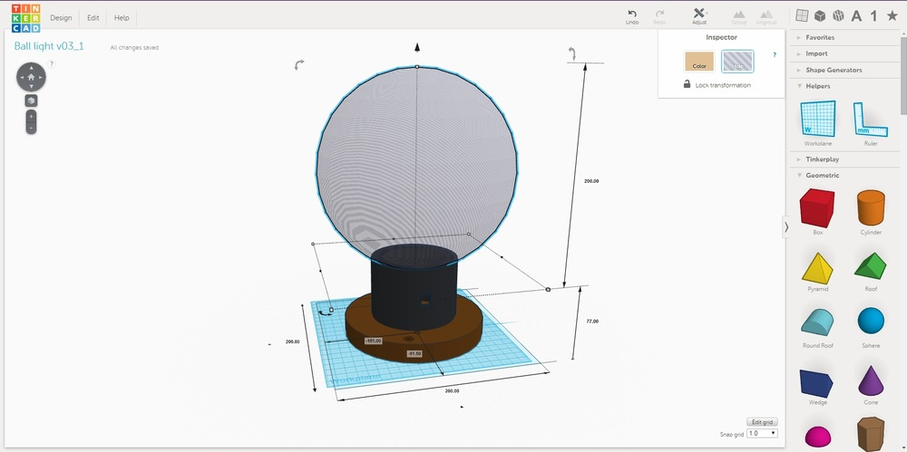 TInkerCAD design of the lamp (black stem printed in ABS plastic on the 3D printer).