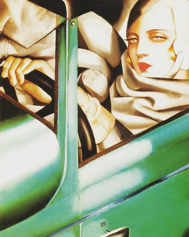 It's going to be a hot one out there, stay as cool as Tamara De Lempicka — self portrait in the green Buggati (1929) #staycool #buggati #cars #coolcars #artdeco #carart #carsofinstagram #framingart #painting #painter #selfie #selfportrait #instagood #instagram #picoftheday