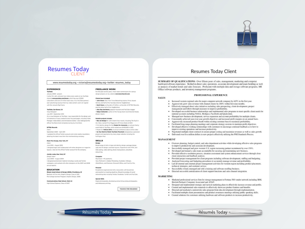 Rsums Today Professional Modern Resume