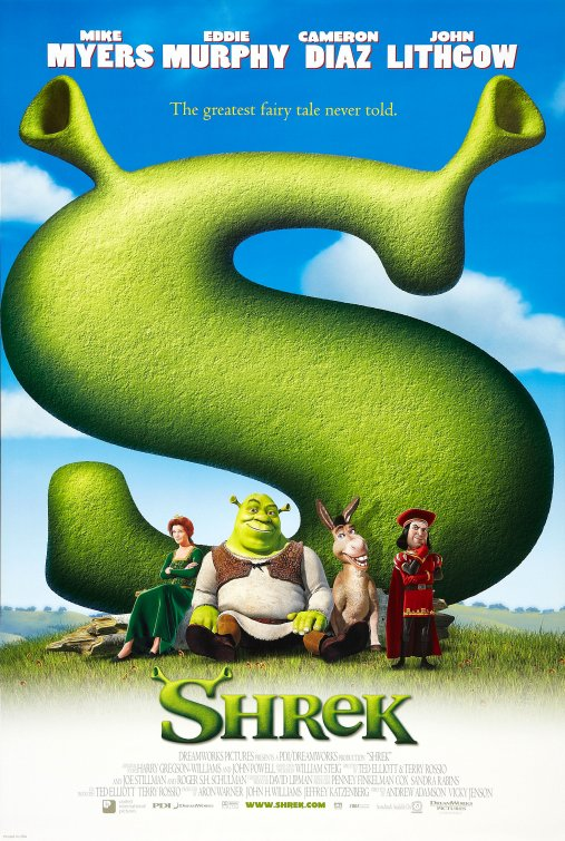 The first SHREK movie poster uses bright colors and goofy characters to appeal to families.