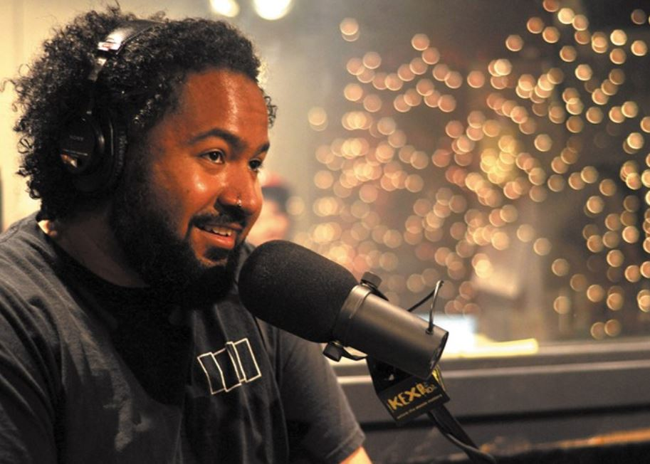 Larry Mizell, Jr. recording at KEXP. Photo by Victoria Holt.