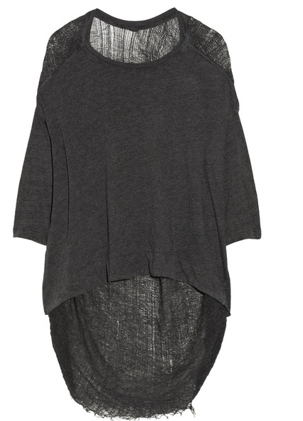 RAQUEL ALLEGRA Shredded cotton-blend jersey top $230