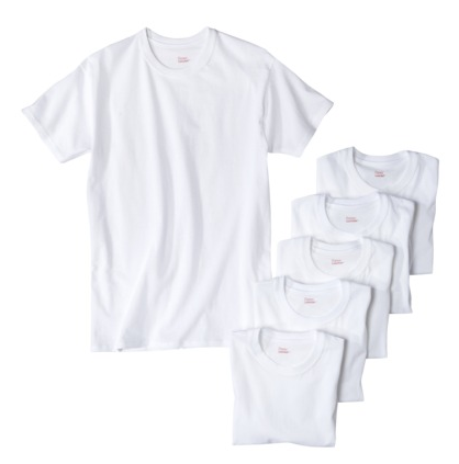 Hanes 6 Pack White Tee Shirts $14.99
