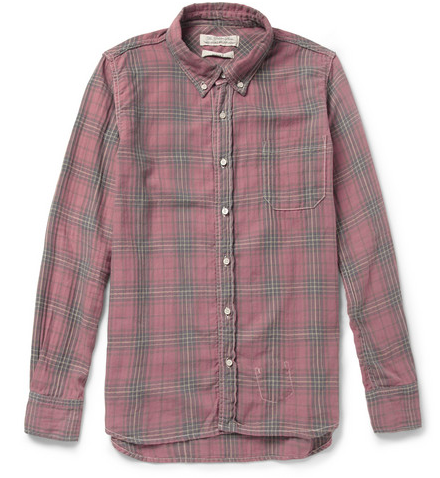REMI RELIEF  WASHED PLAID COTTON-BLEND SHIRT $250