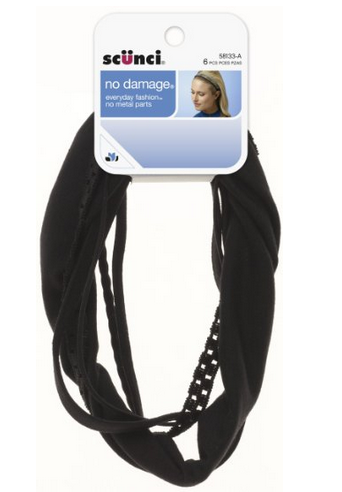 Scunci Effortless Beauty Mixed No Damage Black Headwraps, 6-Count $3.99