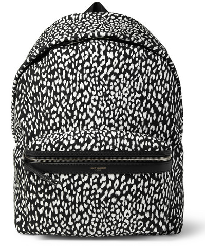 SAINT LAURENT  LEATHER-TRIMMED BABY CAT-PATTERNED BACKPACK $950
