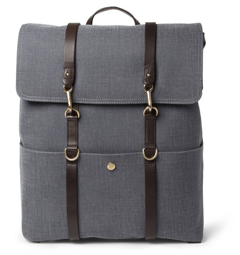 MISMO LEATHER-TRIMMED COTTON-CANVAS BACKPACK $565