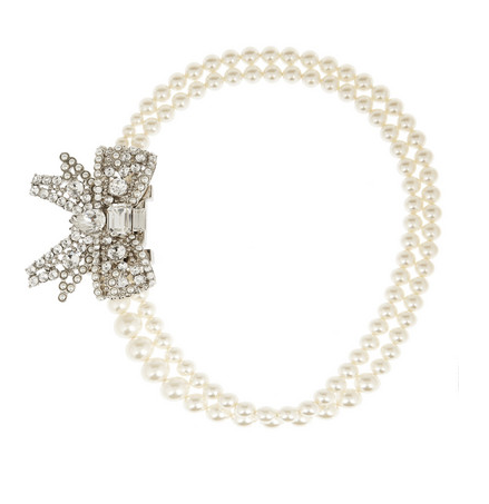 MIU MIU Palladium-plated, Swarovski pearl and crystal necklace $695