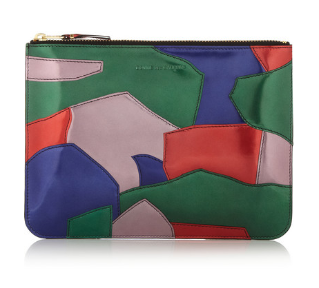 COMME DES GARÇONS Patent-leather patchwork pouch $350