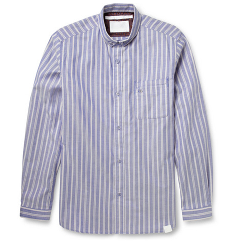 White Mountaineering Striped Button-Down Collar Cotton-Pique' Shirt $445