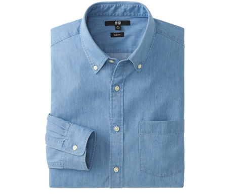 Uniqlo Men Denim Slim Fit Long Sleeve Shirt $29.90
