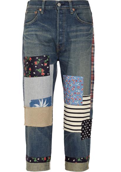 Junya Watanabe Patchwork Cropped Boyfriend Jeans $800