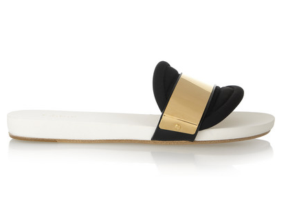 Chloe' Embellished Neoprene Slides $840