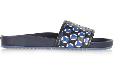 Marc Jacobs Leather and Rubber Slides $395