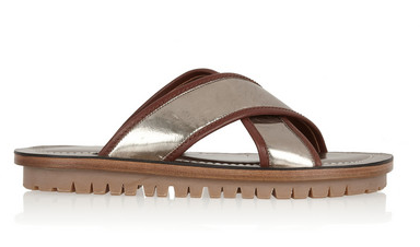 Marc Jacobs Metallic Leather Slides $595