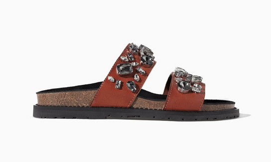 Zara Leather Bio With Jewels Flip-Flops $99.90
