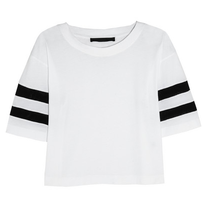 Karl Lagerfeld Jessica Mesh-Striped Cotton-Jersey T-Shirt $115