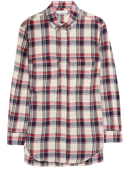 Etoile Isabel Marant Upton Plaid Linen-Blend Shirt $470