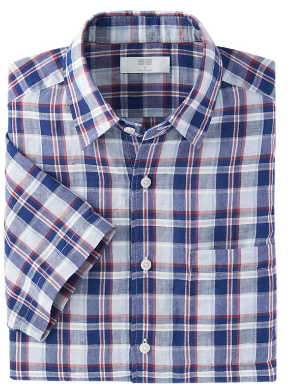 Men Linen Cotton Check Short Sleeve Shirt $29.90