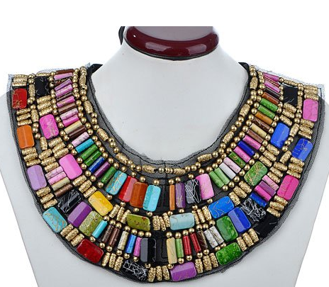 Black Tribal Large U Shaped Draped Multicolor Rainbow Beads Statement Necklace $13.99