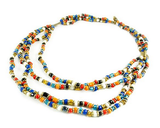 Maisha Fair Trade 3 Strand Necklace, Kenyan Multi Color Glass Beaded $19.95