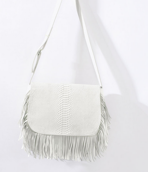 Zara Leather Messenger Bag with Fringing $249