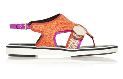 Nicholas Kirkwood Metallic Leather-Trimmed Raffia Sandals $820