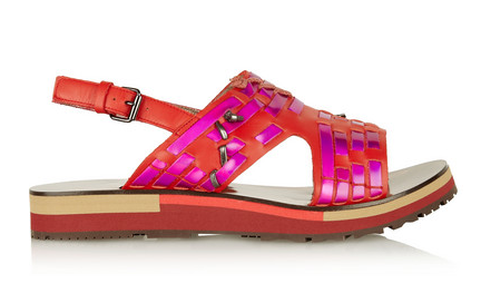 Lanvin Holographic Woven Leather Sandals $990