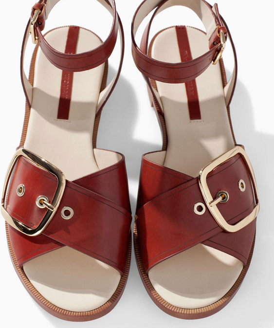 Zara Flat Leather Sandal with Buckle $99.90