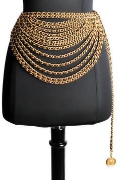 Chanel Vintage Black/Gold Multi Strand Chain Belt $2880