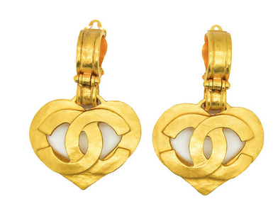 Chanel Vintage CC Logo Heart Earrings $652.50