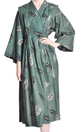 Kenzo Vintage Green Leaf Linen Kimono Dress $607.50
