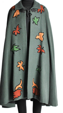 Saint Laurent Rive Gauche Vintage Green Falling Leaves Cape $990