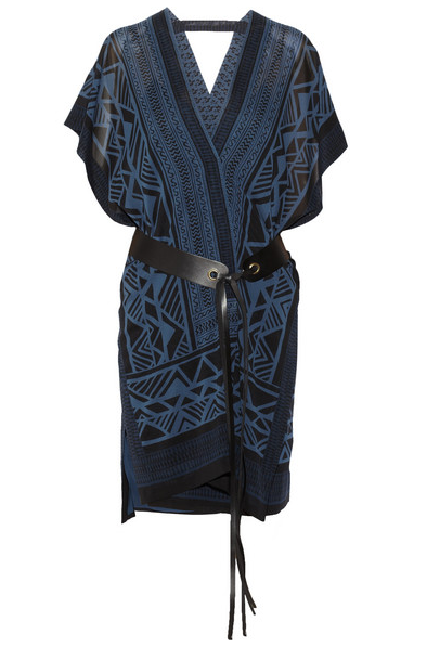 Donna Karan Wrap-Effect Printed Stretch-Silk Georgette Dress $2695