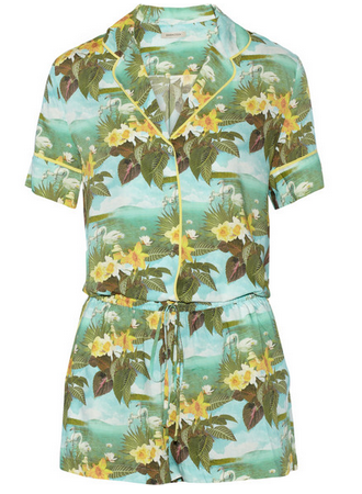 EMMA COOK Printed crepe de chine playsuit $395
